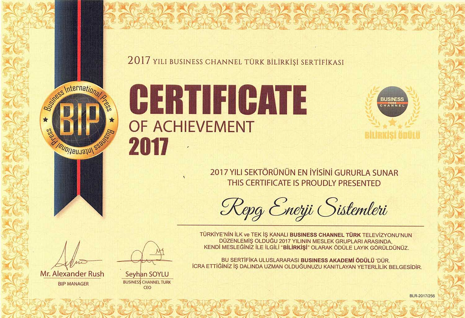 2017 Busines Channel Turkish Expert Certificate RePG